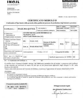 Certificato conformità al Tipo basata sulla ganranzia della qualità del processo di produzione degli insieme a pressione