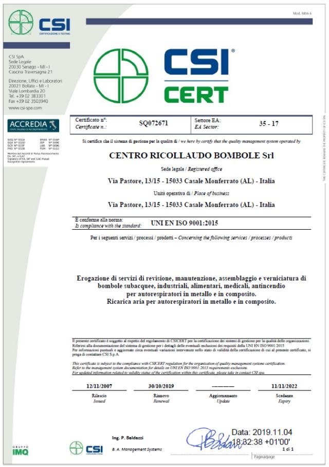 Certificato conformita UNI EN ISO 9001:2015