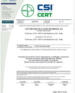 Certificato conformita UNI EN ISO 9001:2008