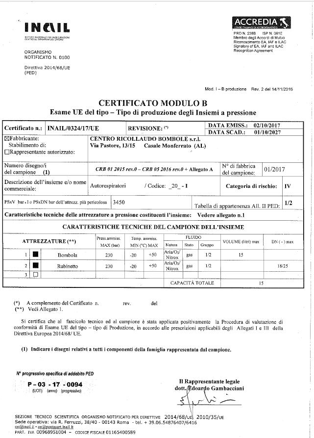 Certificato Esame UE del tipo di produzione Insiemi a pressione
