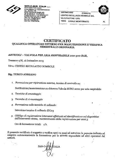 Certificato Qualifica Operatore Estero per manutenzione e verifica semestrale ordinaria